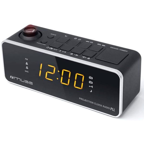 Muse m-188 p negro radio analógica sobremesa fm/am snooze con proyector de hora